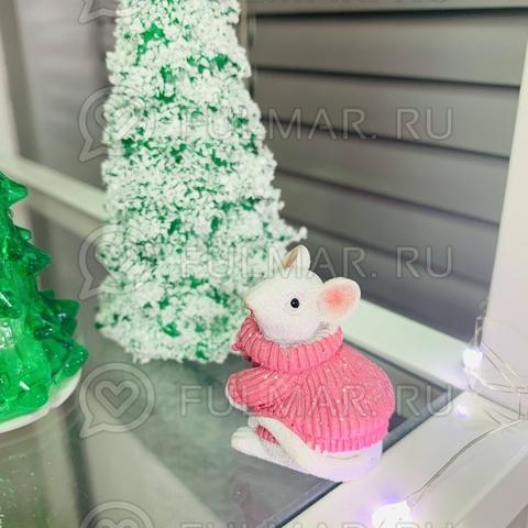 Талисман сувенир Белая Мышка Pretty Mouse символ 2020 в розовом свитере с блёстками