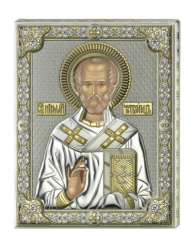 Серебряная икона Святой Николай (прозрачный лак)