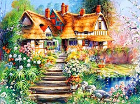 Картина раскраска по номерам 40x50 сказочный дом с прекрасным садом
