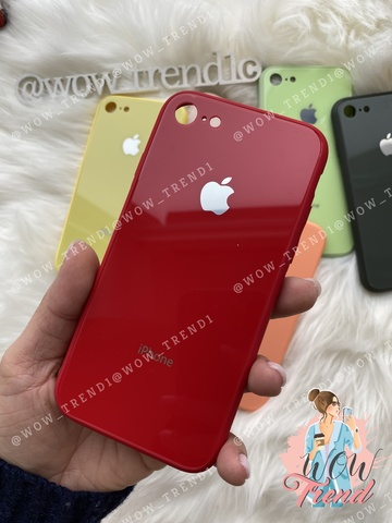 Чехол iPhone 7/8 Glass Pastel color Logo /red/