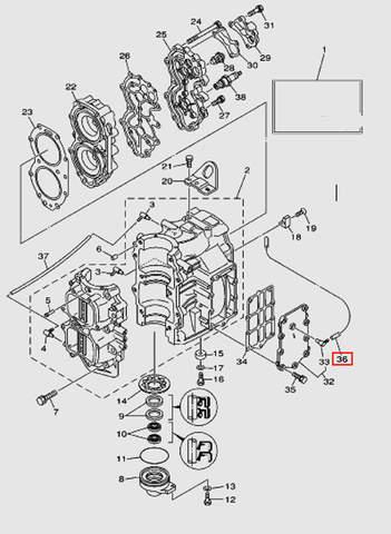 Трубка выпуска L370 для лодочного мотора T40 Sea-PRO (2-36)