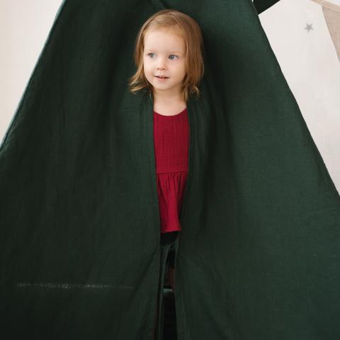 Вигвам для детей из зеленого льна