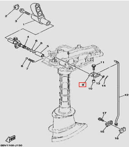 Рычаг тяги переключения для лодочного мотора F5 Sea-PRO(15-9)
