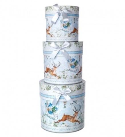 Набор коробок подарочных круглых Лесной олень из 3шт, размер: D21хH21см