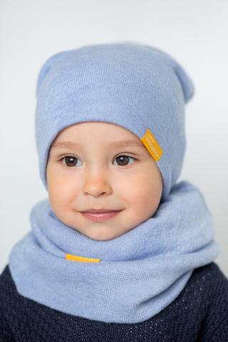 Детский снуд-горловинка из турецкой шерсти голубой
