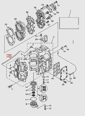 Трубка выпуска L220 для лодочного мотора T40 Sea-PRO (2-37)