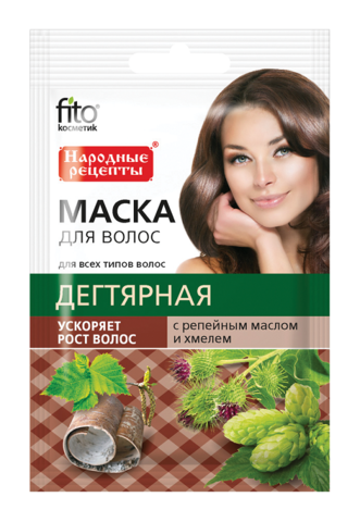 Фитокосметик Народные рецепты Маска для волос Дегтярная с репейным маслом и хмелем для ускорения роста волос 30мл