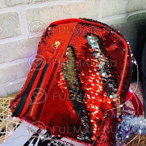 Рюкзак красный с пайетками меняющий цвет Красный-Серебристый с молнией LOLA маленький