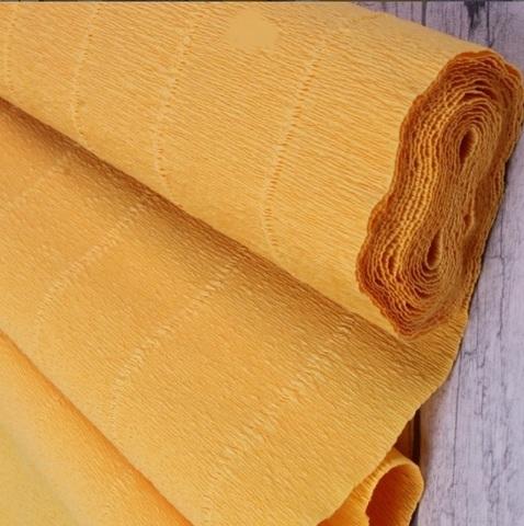 Бумага гофрированная, цвет 576 светло-оранжевый, 180г, 50х250 см, Cartotecnica Rossi (Италия)