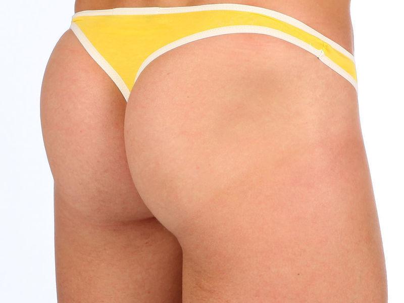 Мужские трусы стринги Van Baam желтые с белой окантовкой