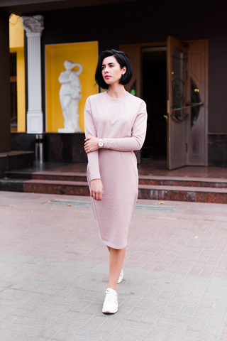 Платье Ника с секретом для кормления пудра с люрексом