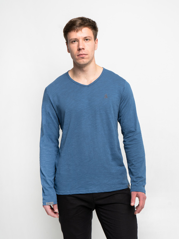 Long-sleeved V-neck navy t-shirt