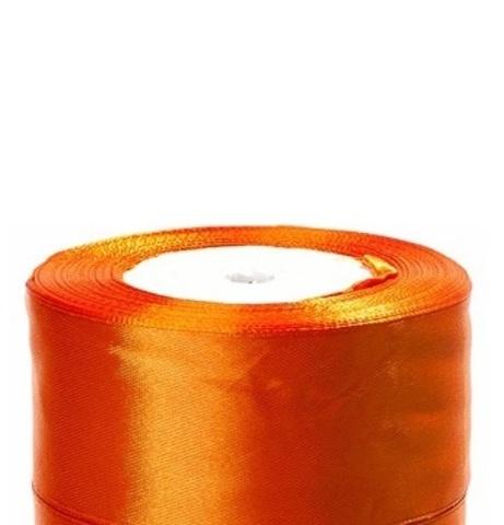 Лента атласная (размер:40мм х 25 ярдов) Цвет:оранжевый