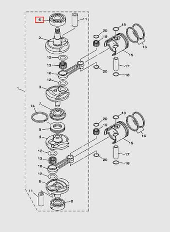 Подшипник коленвала верхний  6307 для лодочного мотора T40 Sea-PRO (3-6)