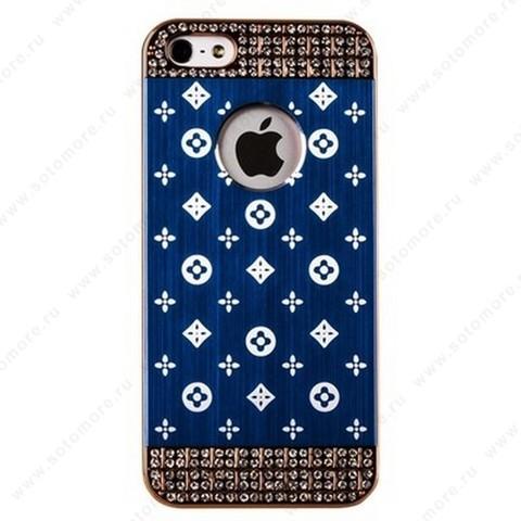 Накладка LV металлическая для iPhone SE/ 5s/ 5C/ 5 золото синяя