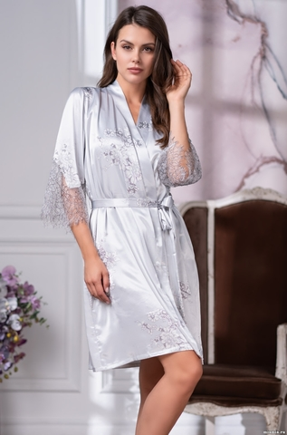 Короткий шелковый халат Mia Amore Kelly 3573 (70% натур.шелк)