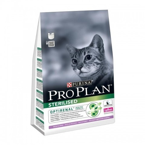 Purina Pro Plan Sterilised Turkey сухой корм для взрослых стерилизованных кошек и кастрированных котов с индейкой 3 кг