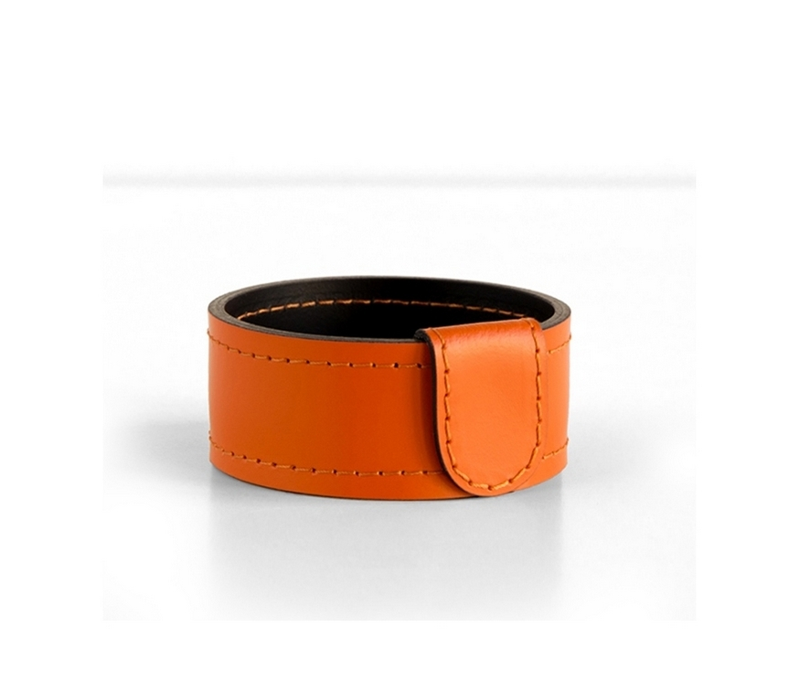 Мелочница Н4 кожа Cuoietto цвет оранжевый-шоколад.