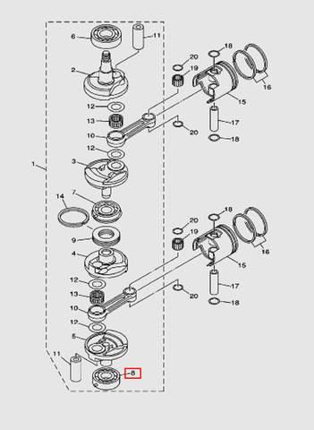 Подшипник коленвала нижний 6306 для лодочного мотора T40 Sea-PRO (3-8)