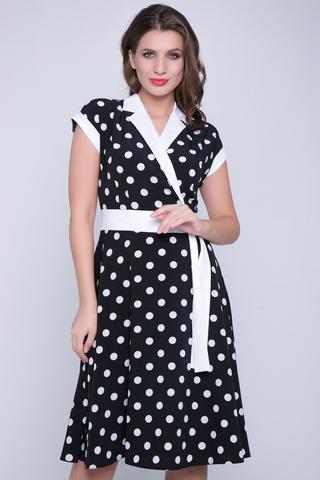 <p>Отличное платье для романтической дамы! Отложной воротничок. Юбка клёш, с имитацией пояса. Спущенное плечо с манжетам. (Длины: 44-103 см; 46-105см; 48-107см; 50-108см; 52-110см)</p>
