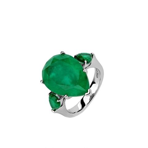 47441- Кольцо из серебра с изумрудным камнем кушон