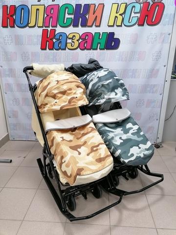 Санки-коляска для двойни PIKATE (хаки)