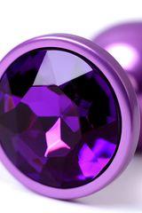 Фиолетовый анальный плаг с кристаллом фиолетового цвета - 7,2 см. -