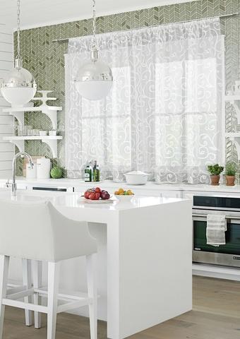 Готовая штора для кухни органза деворе Мурано белый