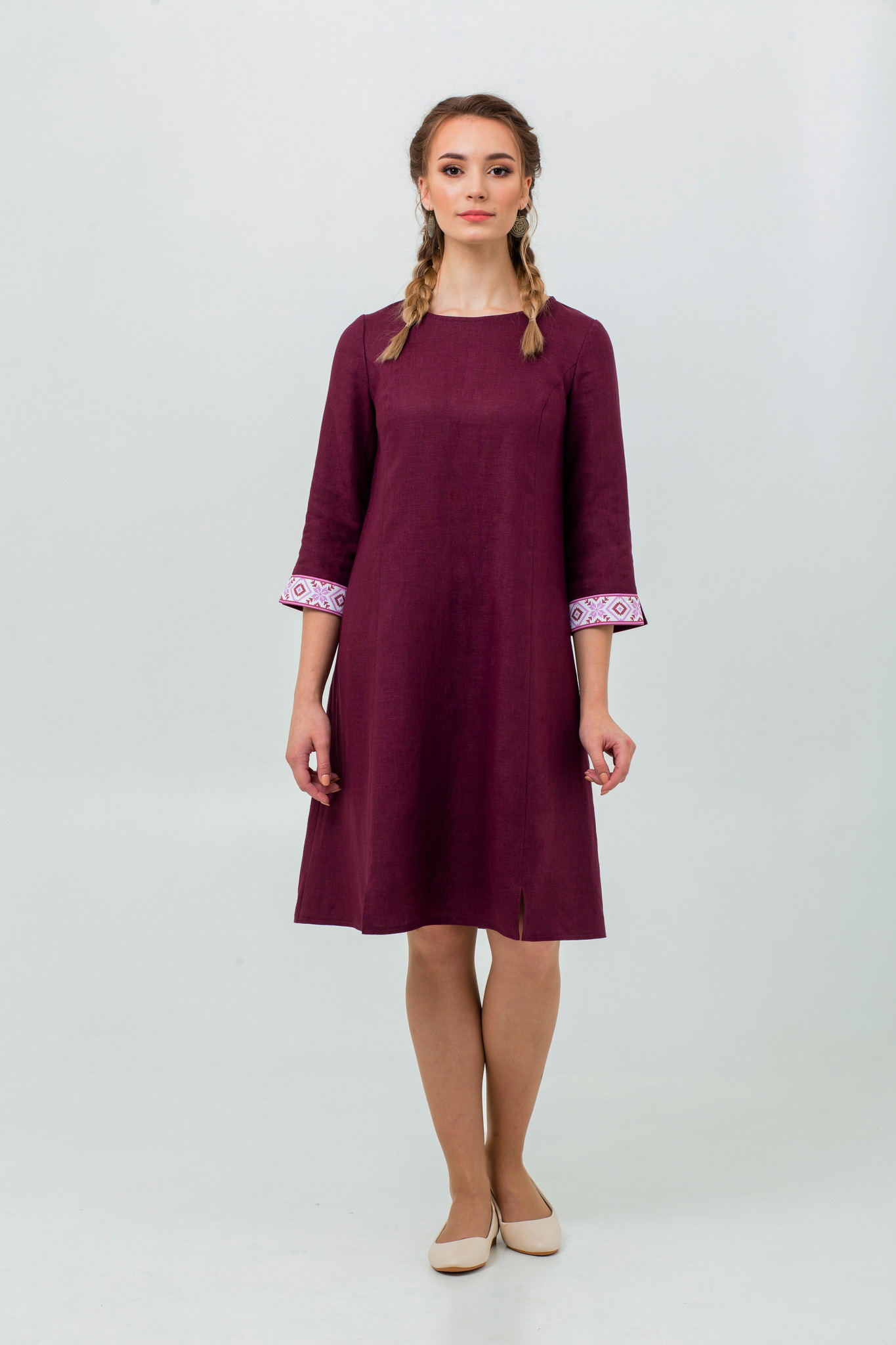 Льняное платье в русском стиле Сочный виноград