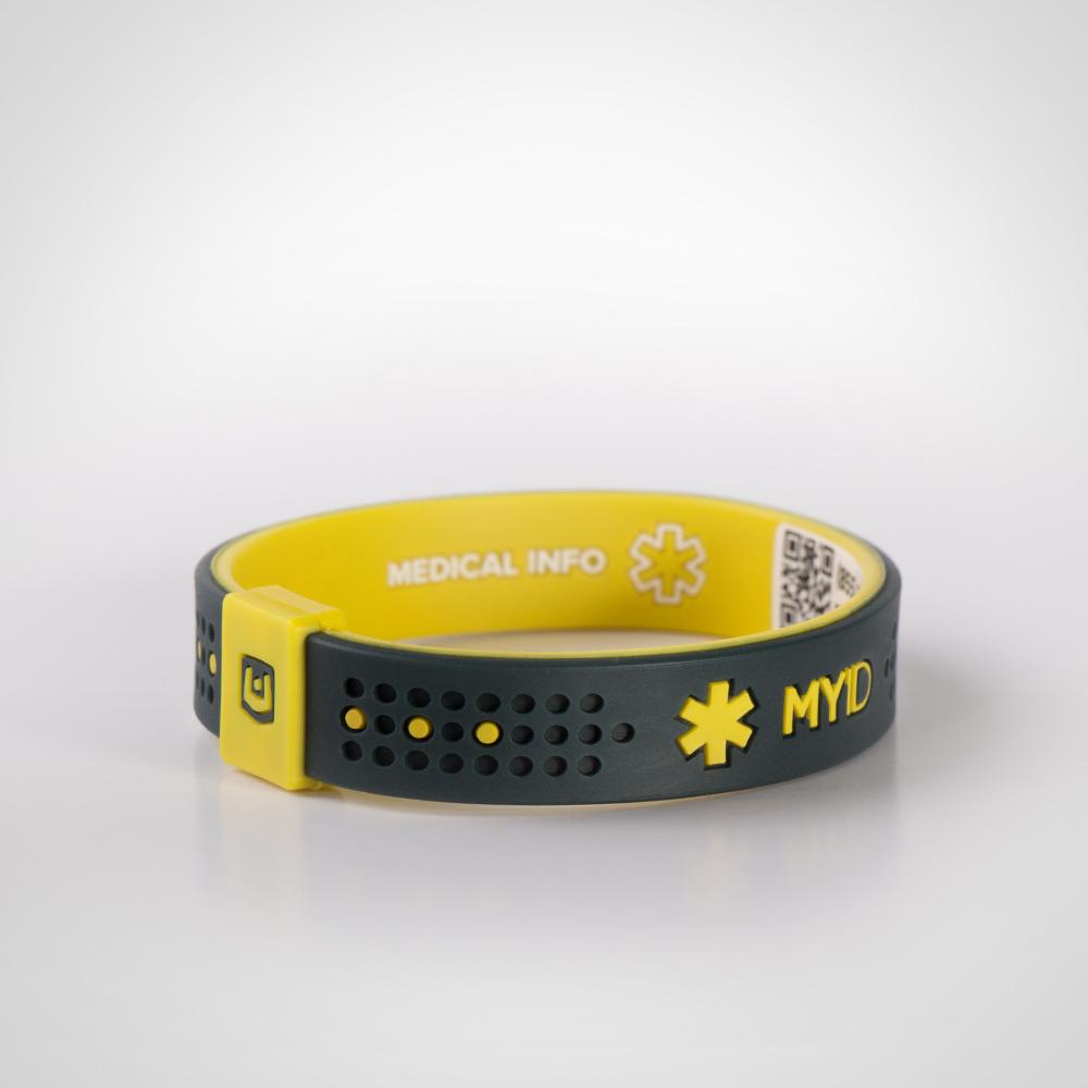 Информационный энергетический браслет My ID Sport угольно/желтый
