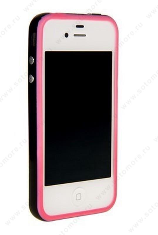 Бампер для iPhone 4s/ 4 розовый с черной полосой