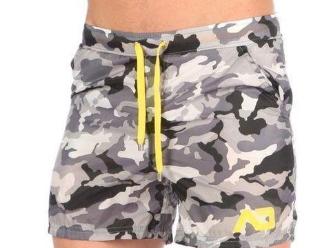 Мужские шорты удлиненные серые камуфляжные ADDICTED