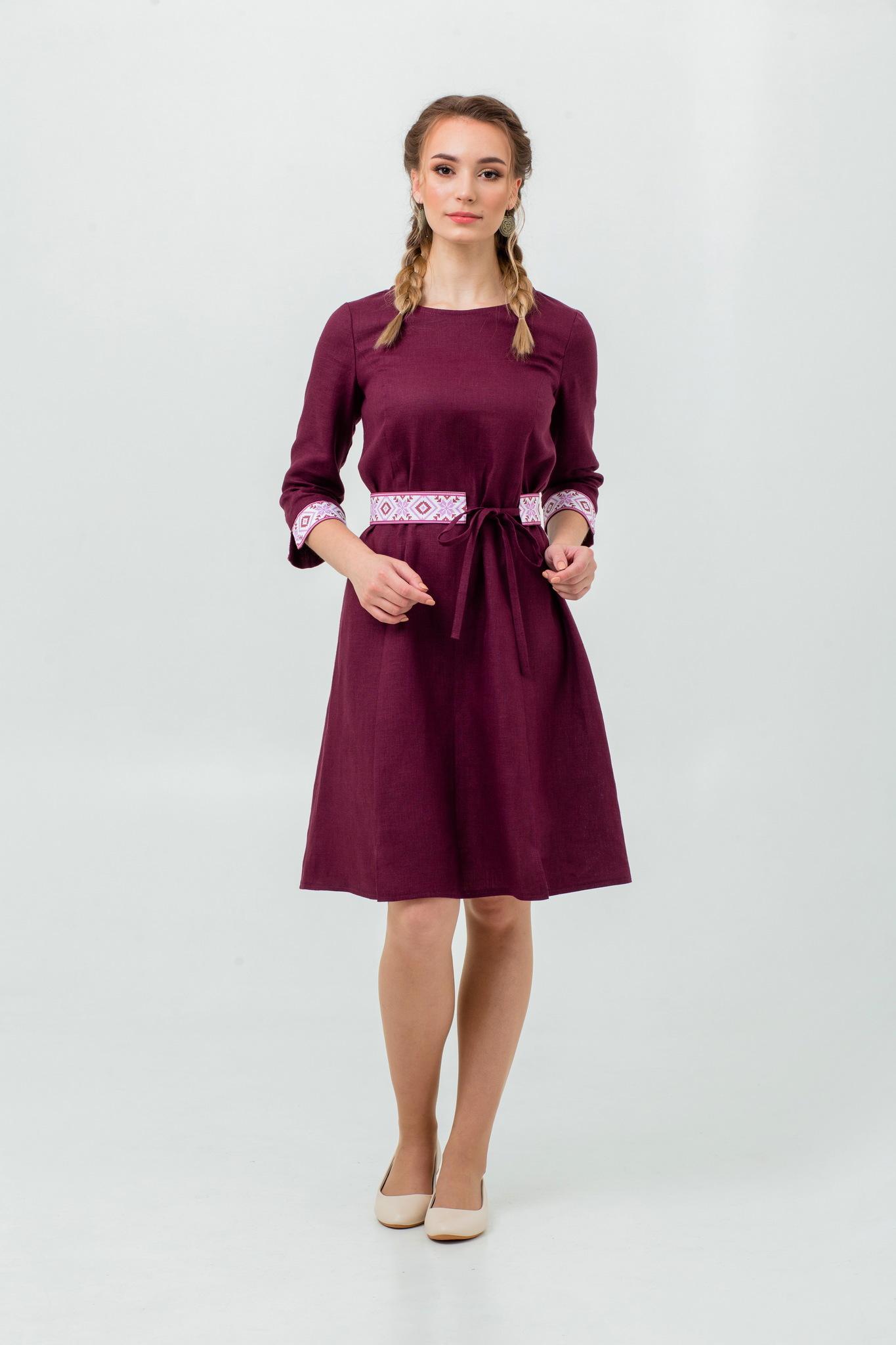 Платье льняное с поясом купить Сочный винград