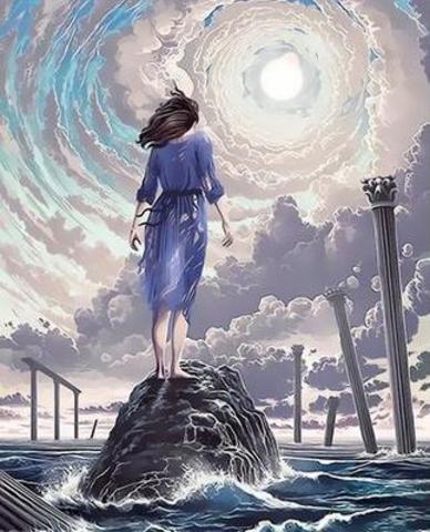 Картина раскраска по номерам 30x40 девушка у моря на камне