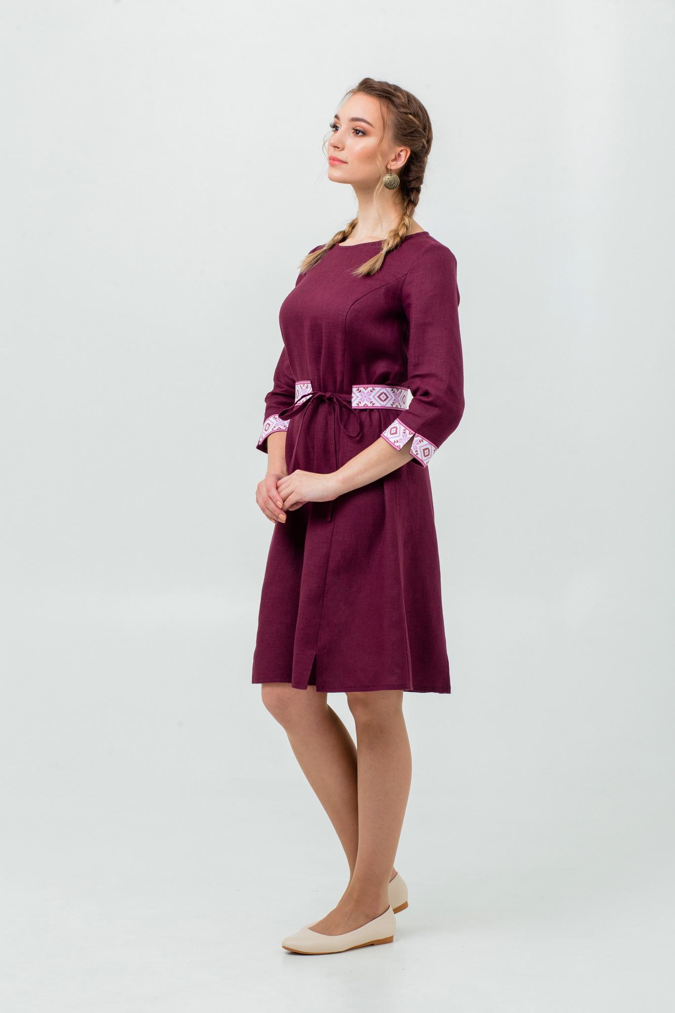 Народное платье из льна Сочный виноград