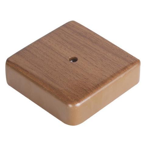 SM Коробка 1 постовая распред. 75х75х20 c текстурой дерева. Цвет Орех. Ecoplast (ЭКОПЛАСТ). 72908N