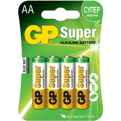Батарейки GP 15A-U4 Alkaline LR6, АА, 4шт блистер 20/160