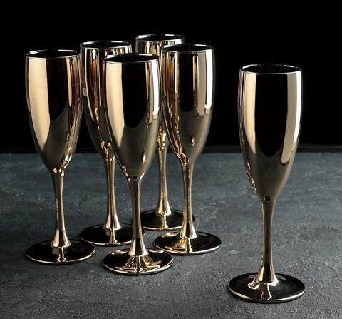 Набор бокалов для шампанского «Золото», 170 мл, 6 шт