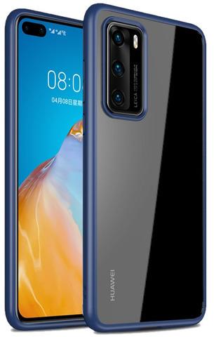Ударопрочный чехол для Huawei P40 Pro с синими рамками от Caseport, серия Ultra Hybrid