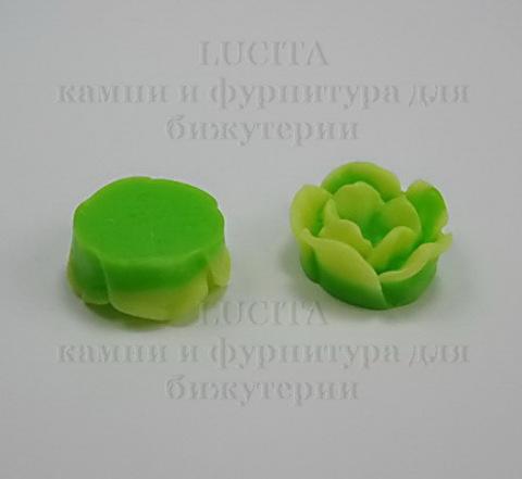 Кабошон акриловый зеленый двухцветный цветок, 13х6 мм ()