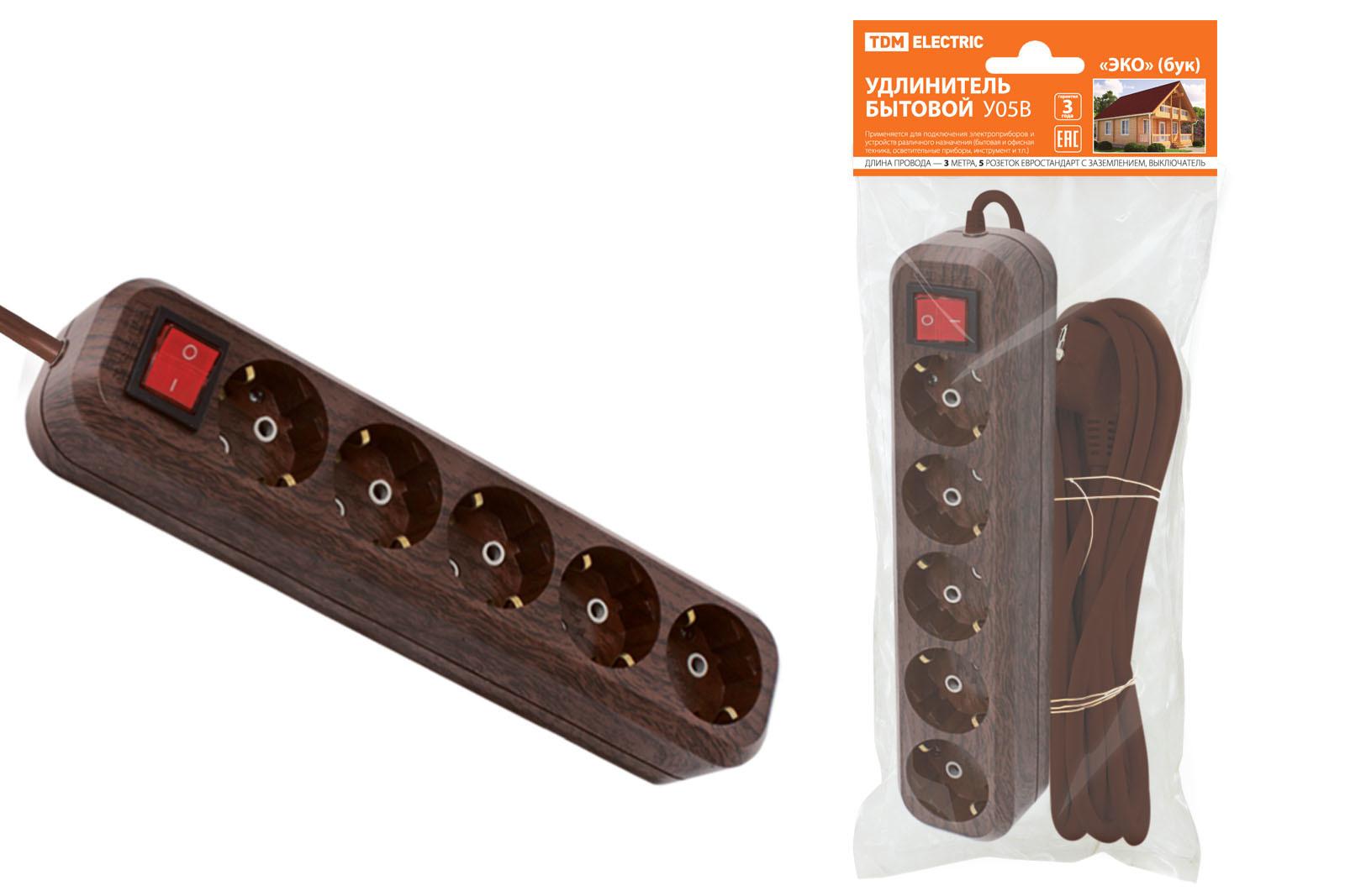 Удлинитель бытовой У05В выключатель, 5 гнезд, 3метра,2П+3, ПВС 3х1мм2 Эко