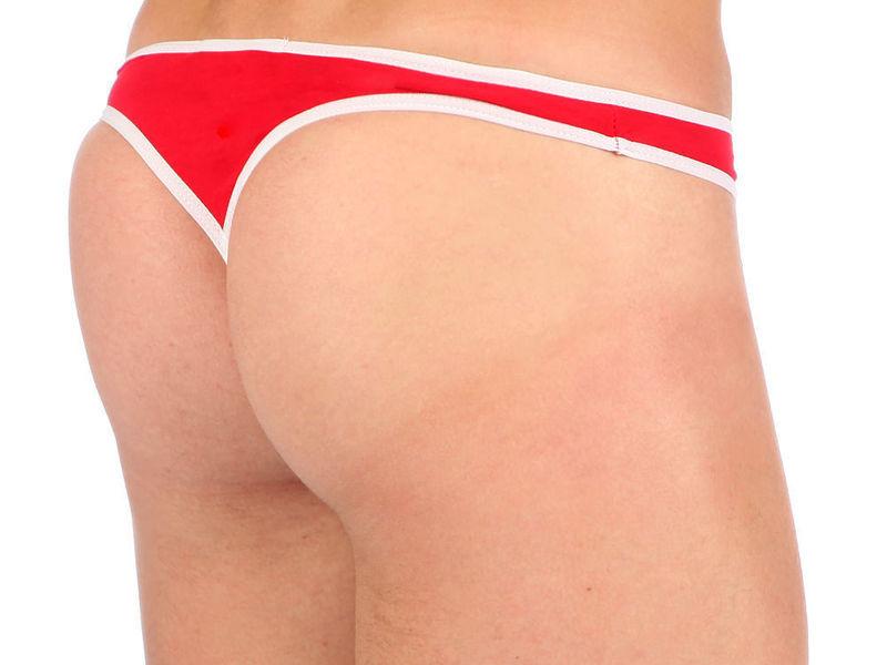 Мужские трусы стринги Van Baam красные с белой окантовкой