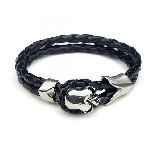 Брутальный мужской браслет из плетёной кожи со стальным черепом замок-петля Steelman mn00085