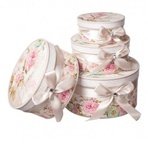 Набор коробок круглых Париж 4шт, D23хH10см, бежевый/розовый