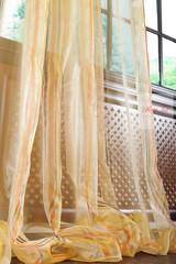 Тюль в полоску. Органза Leyna (золото)