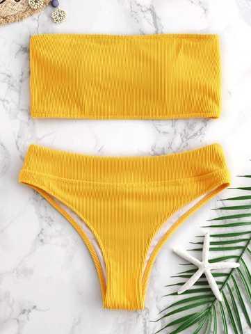 купальник бандо желтый горчичный в рубчик трусики с завышенной талией 1