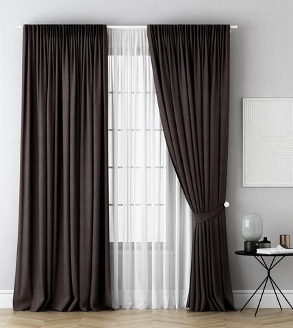 Комплект штор и тюль Грета коричневый