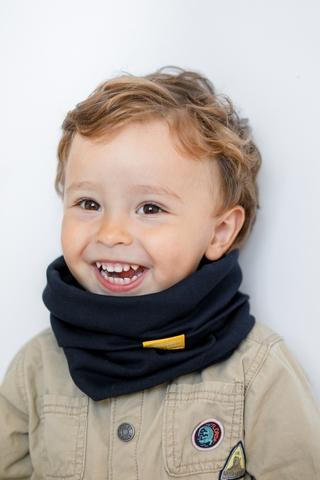 Детский снуд-горловинка из хлопка гладкий темно-синий