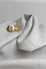 Натуральная льняная ткань, рисунок  ПОЛОСКА на бежевом фоне