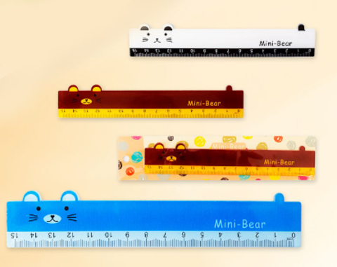 061-9650 Линейка пластиковая МИШКА, 15 см., 4 цвета в ассортименте